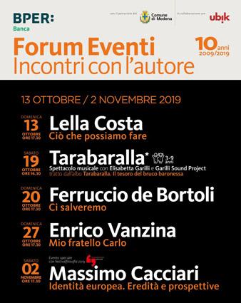 Forum Eventi d'autunno: a ottobre sul palco un'attrice, un  giornalista, un regista e un filosofo. E per i bambini uno spettacolo musicale