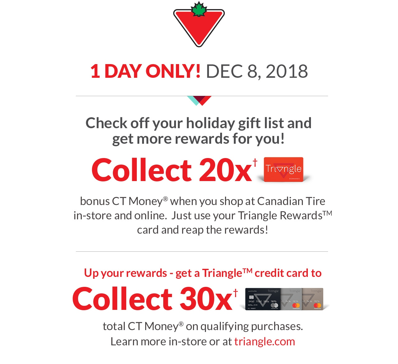 d2e986b4de8dc  Canadian Tire  Saturday Dec 8 Only  20x Triangle Points and 30x Triangle  Points if using Triangle Credit Card