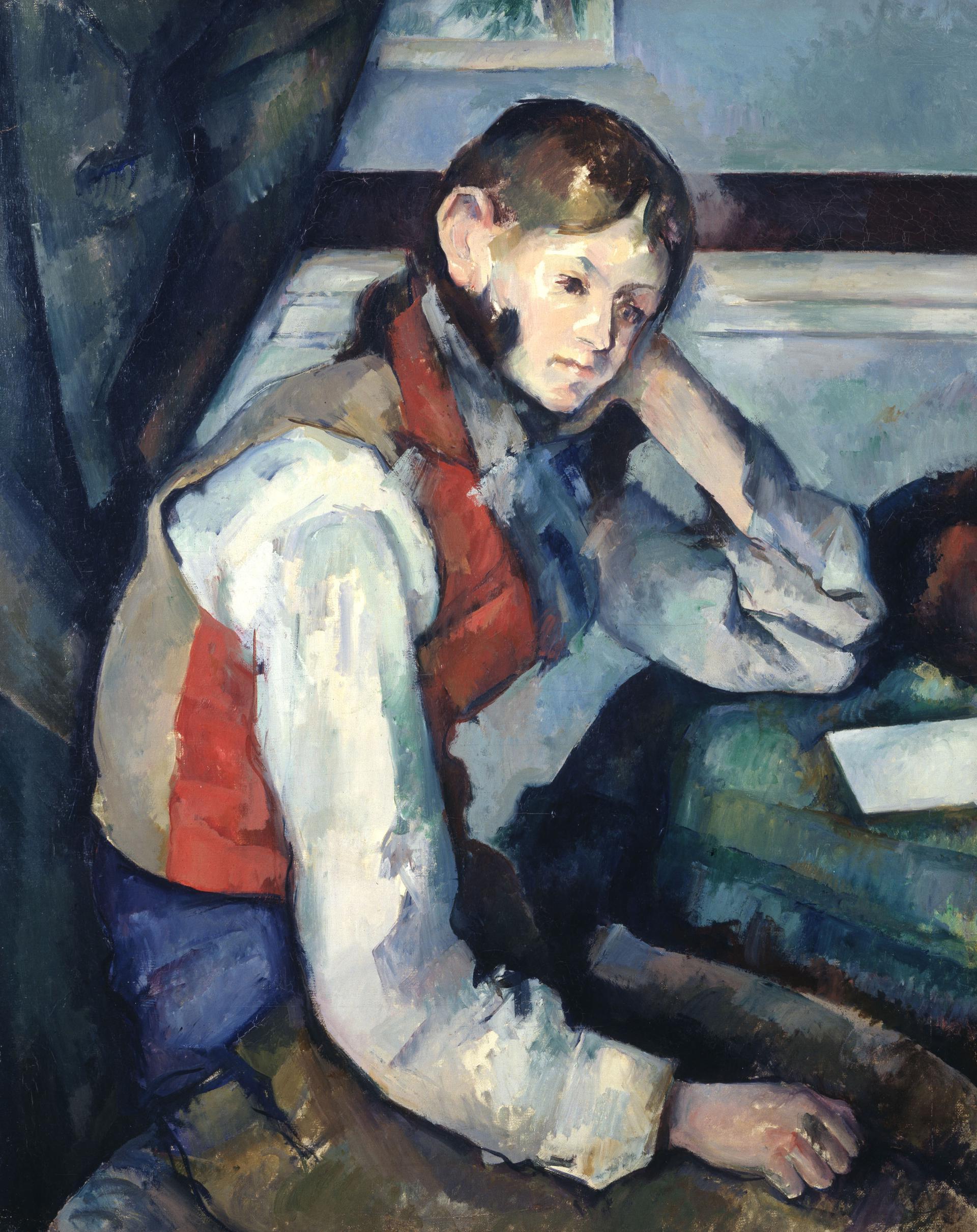 Paul Cézanne_Le Garçon au gilet rouge (Il ragazzo con il gilet rosso) 1888/1890 Olio su tela 79.5 x 64 cm Collezione Emil Bührle  Crediti fotografici: SIK-ISEA, Zürich (J.-P. Kuhn)