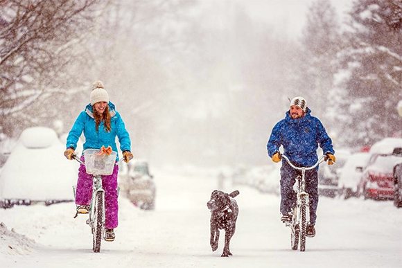 Bikers with Dog in Snow