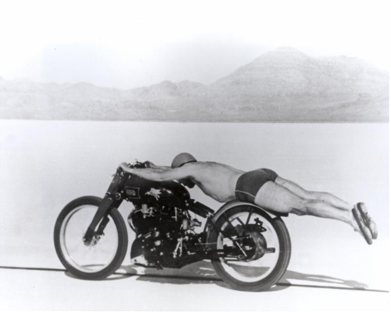 Rollie Free in 1948 riding across the Bonneville salt flats
