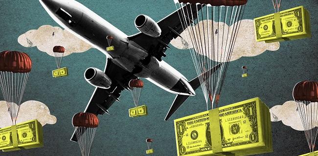 Airplane dropping bundles of cash
