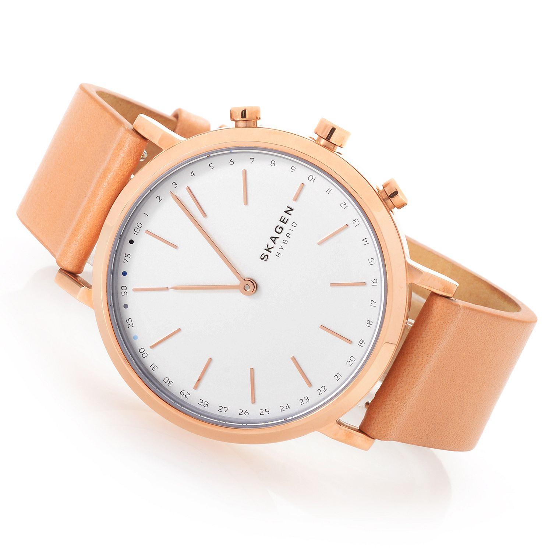 671-182 Skagen Women's Hald Hybrid Quartz Leather Strap Smartwatch