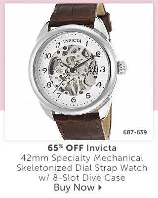 687-639 Description:  Invicta 42mm Specialty Mechanical Skeletonized Dial Strap Watch w/ 8-Slot Dive Case Percentage off: 65% Off
