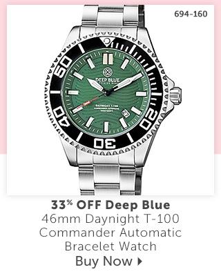 694-160 Deep Blue 46mm Daynight T-100 Commander Automatic Bracelet Watch 33% Off