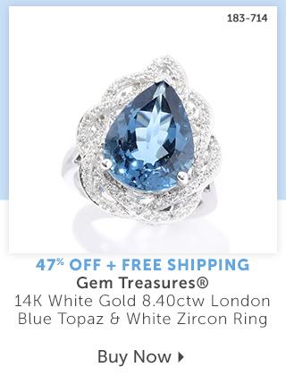 183-714  Description:  Gem Treasures® 14K White Gold 8.40ctw London Blue Topaz & White Zircon Ring Percentage off: 47% Off