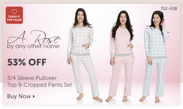 752-638 Description:  A Rose by Any Other Name 3/4 Sleeve Pullover Top & Cropped Pants Set Percentage off: 53% Off