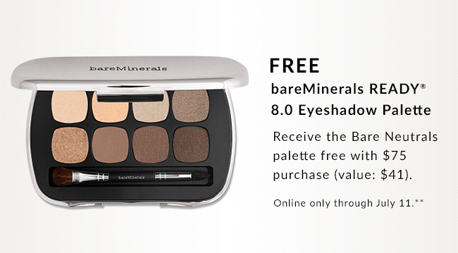 Free bareMinerals® 8.0 Eyeshadow Pallette