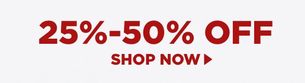 Shop items 25%-50% off.