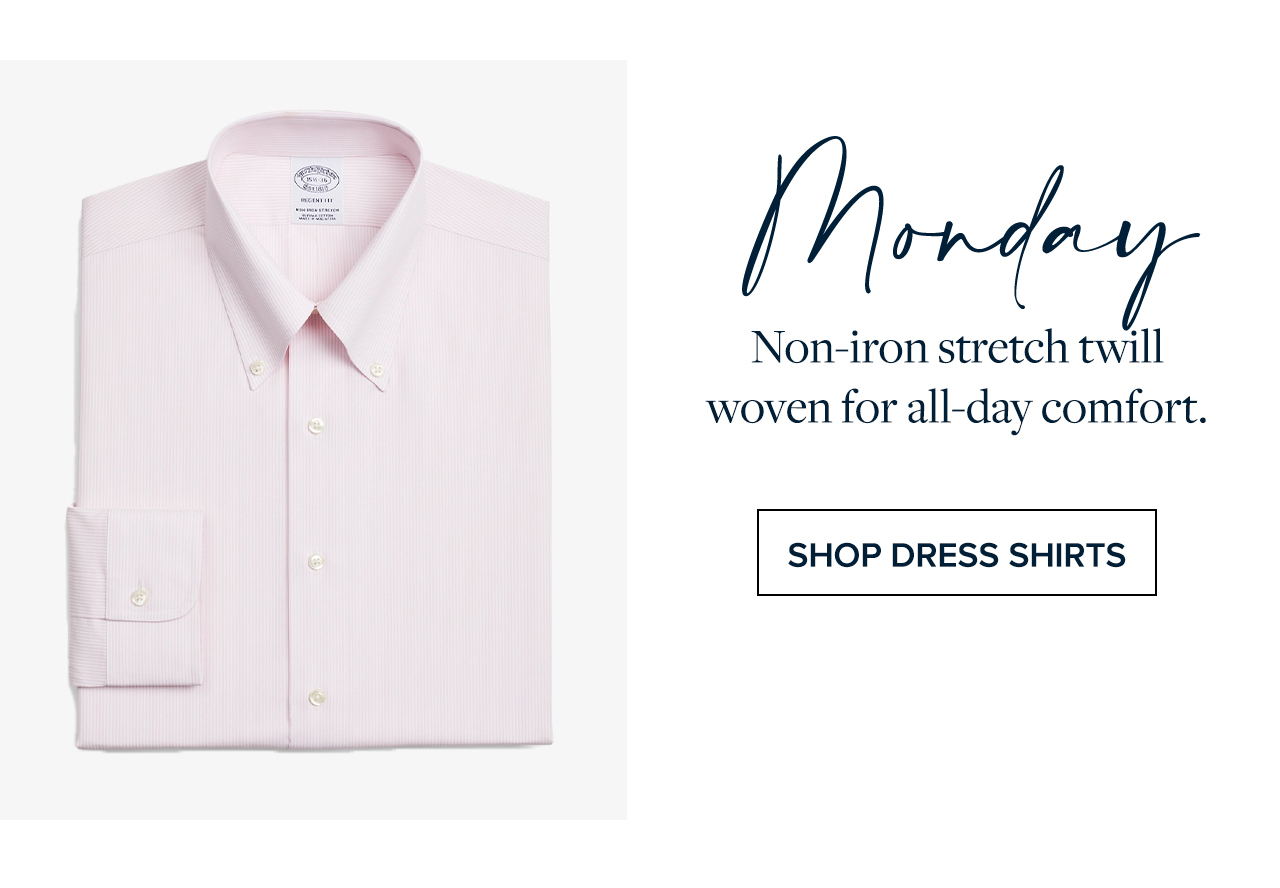 Monday Non-iron stretch twill woven for all-day comfort. Shop Dress Shirts