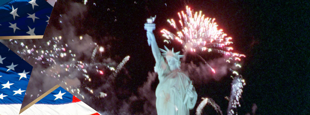 Fireworks near the Statue of Liberty during the Opening Ceremonies of Liberty Weekend Governors Island. 7/3/1986
