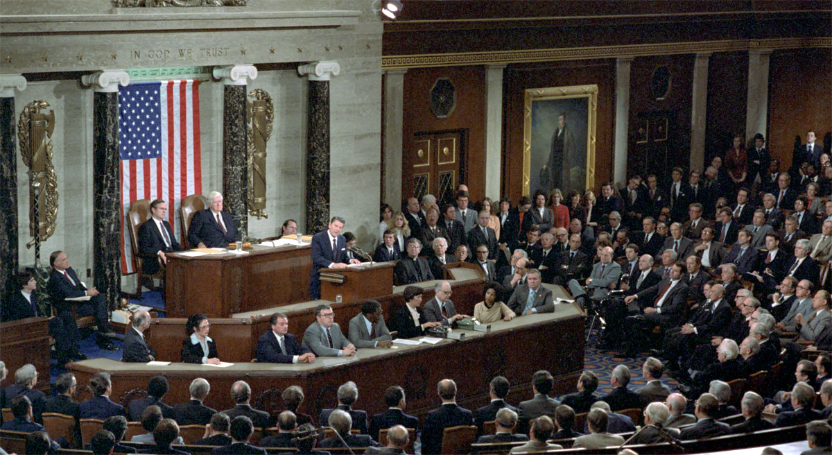 President Addressing Joint Session of Congress on program for economic recovery House Chamber United States Capitol.