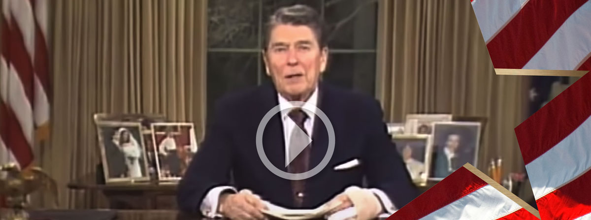President Reagan making his farewell address to the Nation.