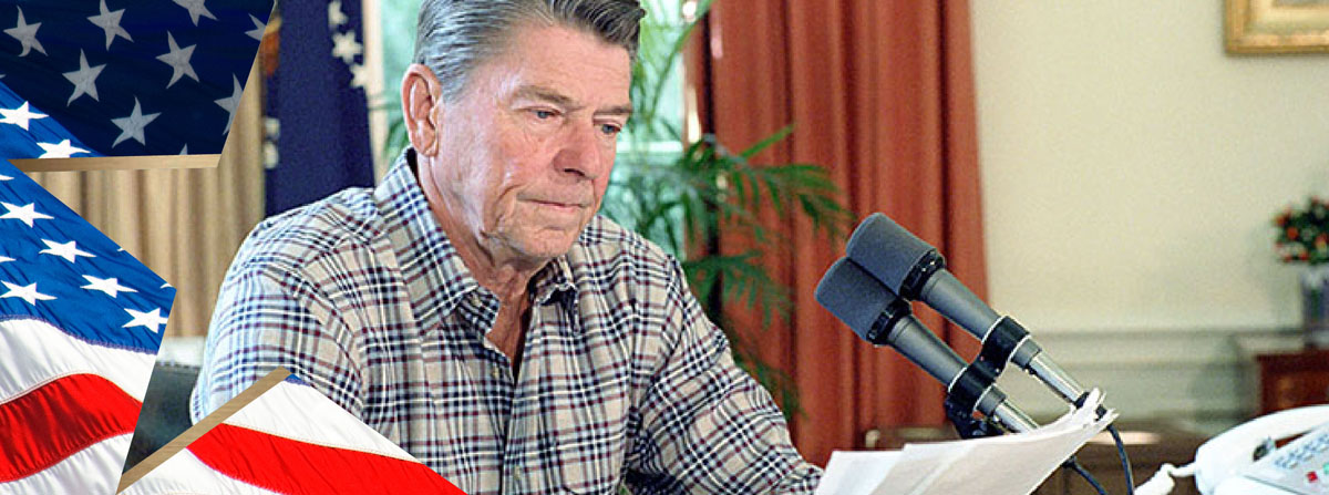 President Reagan during his Saturday Radio Address in the Oval Office