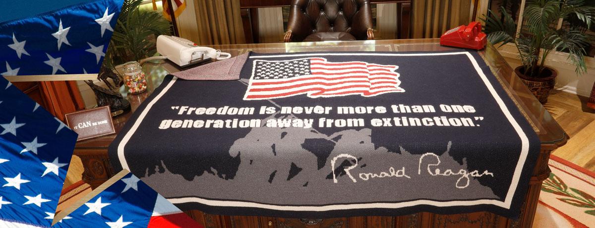 Freedom Blanket on a desk.