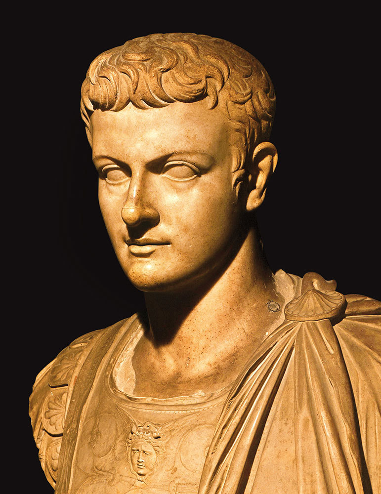 A bust of the Roman emperor who believed he was a god.