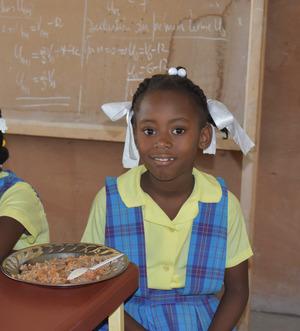 girl plate of food blackboard