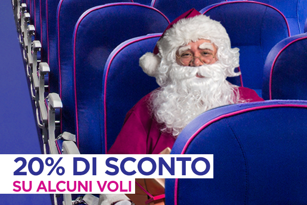 Babbo Natale ti regala il 20% di sconto su alcuni voli!