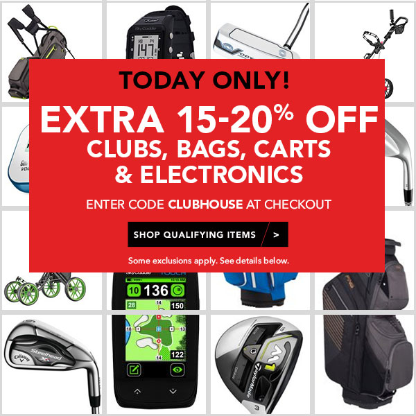 EXTRA 15% OFF  CLUBS, BAGS, CARTS & ELECTRONICS