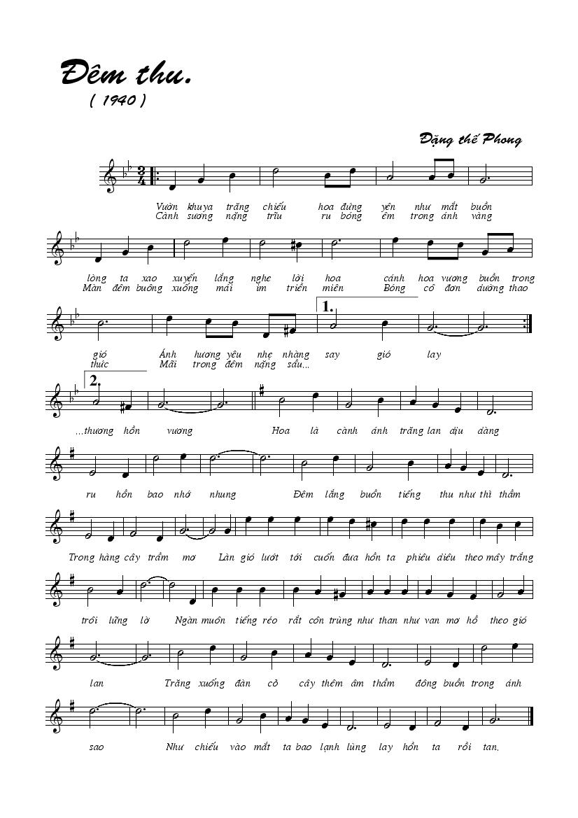 Image result for Đêm thu music sheet