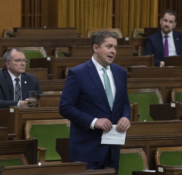 [Image of Conservative leader Andrew Scheer in the House of Commons]