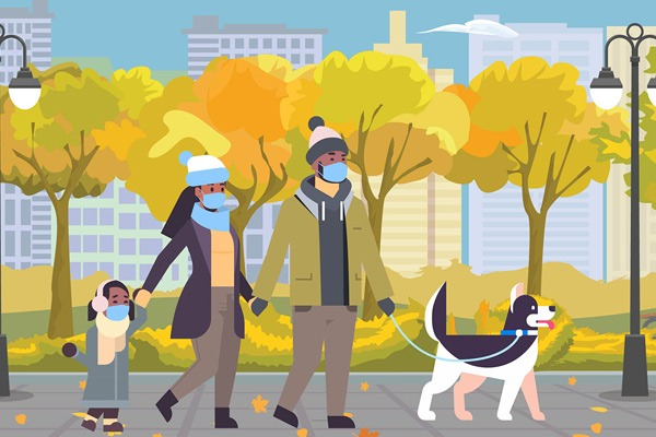 illustration of family wearing masks walking dog
