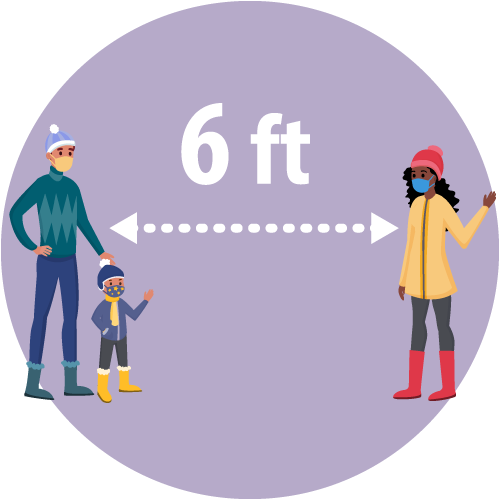 illustration of a man and a child standing 6 feet apart from a woman