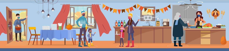illustration of people wearing masks and celebrating Thanksgiving