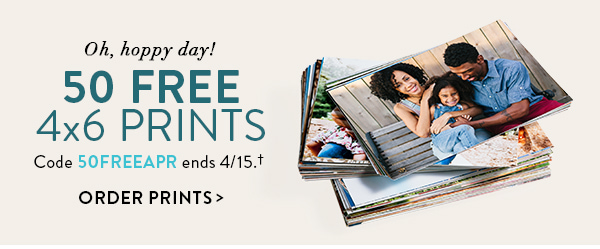 Oh, hoppy day! | 50 FREE 4x6 prints | Code 50FREEAPR ends 4/15.† | Order prints >