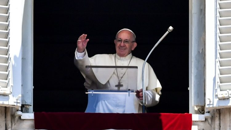 Pope Francis addresses the pilgrims gathered in St. Peter's Square for the Angelus Prayer