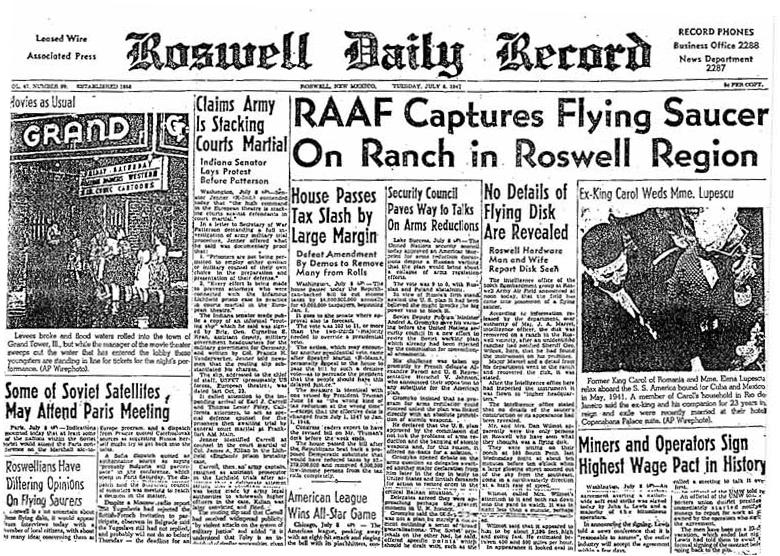 Roswell UFO Newspaper