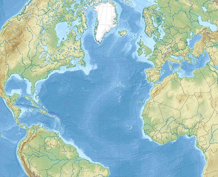 Map of Atlantic Ocean