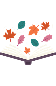 open book with fall leaves