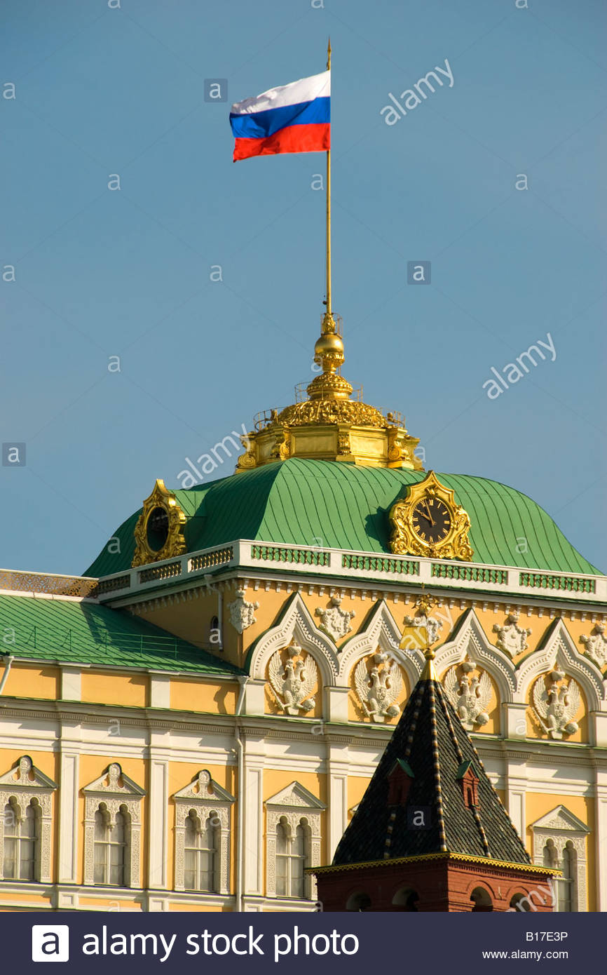 Russian flag flying over the Grand Kremlin Palace, Moscow, Russia ...