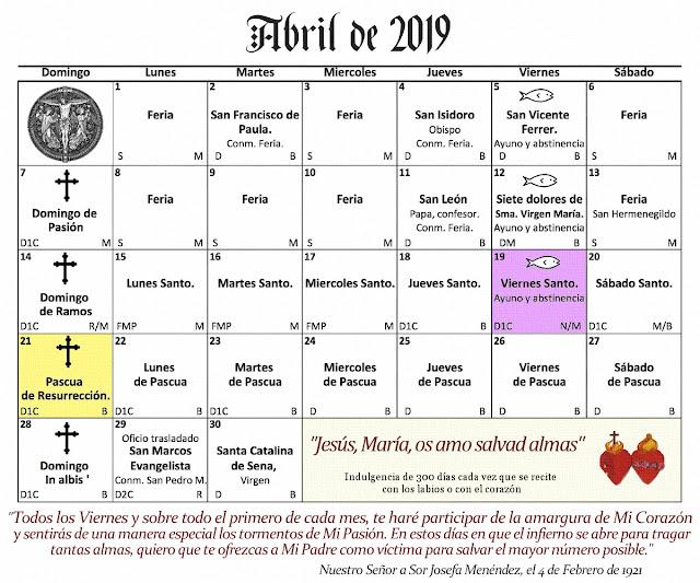 Mi Rincon Espiritual Calendario Catolico Abril De 2019