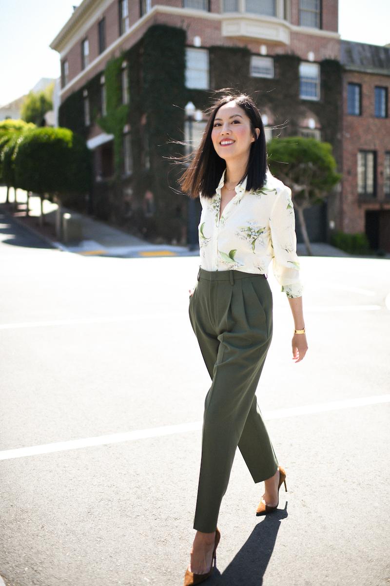 Olive pants, silk blouse