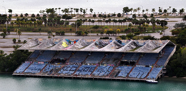 aerial view of Miami Marine Stadium