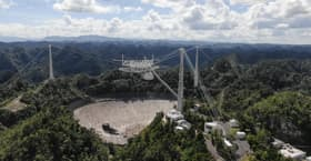 The Arecibo radio telescope after the second cable failure in November 2020