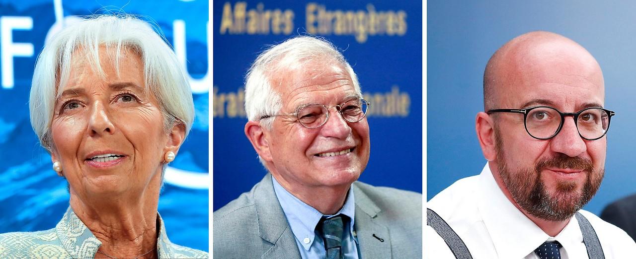 Christine Lagarde (nominiert als neue Präsidentin der Europäischen Zentralbank), Josep Borrell (nominiert als EU-Außenbeauftragter), Charles Michel (nominiert als Ratspräsident)