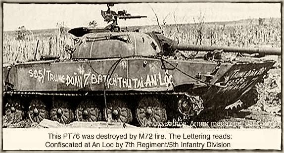 Xe tÄng PT76 bá» phá hủy tá»ch thu tại An Lá»c. Hình Armor Magazine, Jan 1973