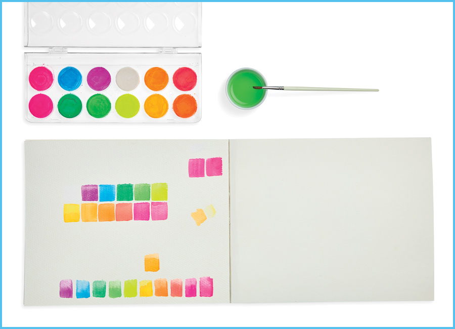 Chroma Blends watercoloring set with painted squares