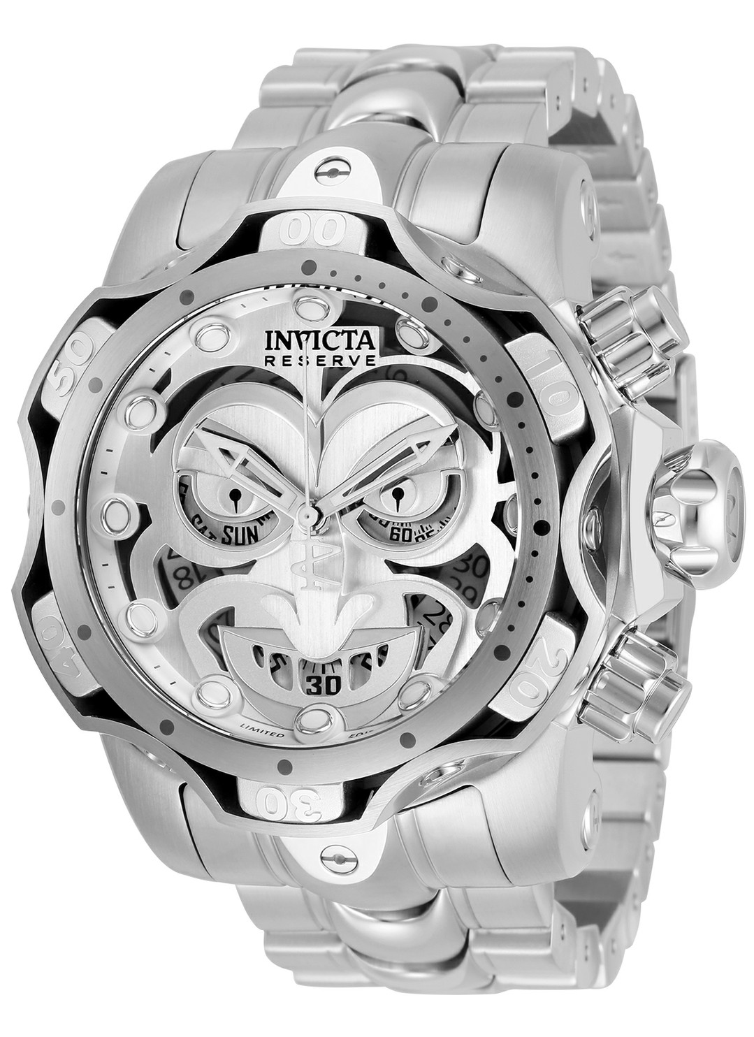 Invicta DC Comics Limited Numbered Edition Joker Mens Quartz 52.5 mm Stainless Steel, Silver Case Antique Silver, Grey Dial - Model 30295