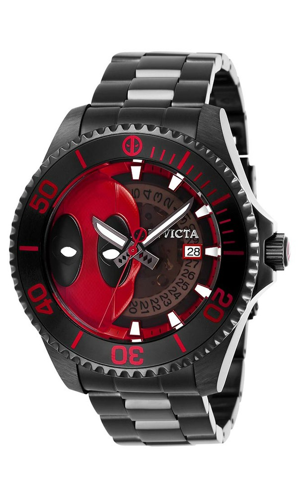 Invicta Marvel Limited Edition Deadpool Mens Automatic 47 mm Black Case Black, Red Dial - Model 27153