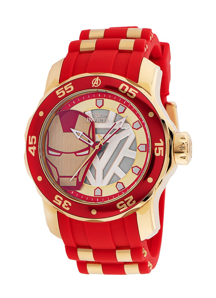 Invicta Marvel Tony Stark Iron Man Men's Watch - 48mm Stainless Steel Case, Silicone/SS Band, Grey, Steel (34751)