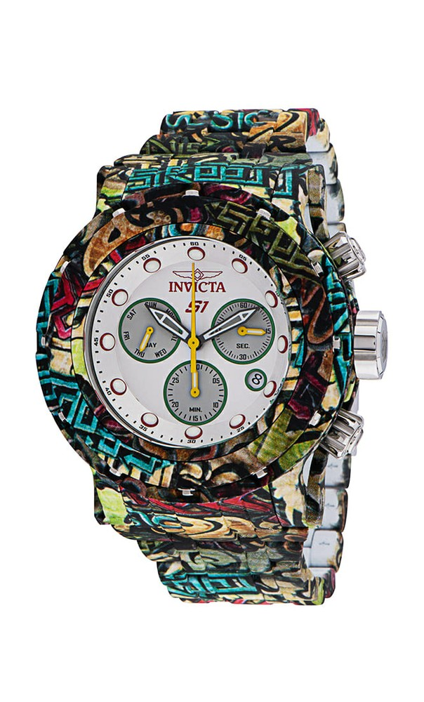 Invicta Reserve S1 Hydroplated Men's Watch - 54mm Stainless Steel Case, Stainless Steel Band, Steel, Aqua Plating, White (34893)