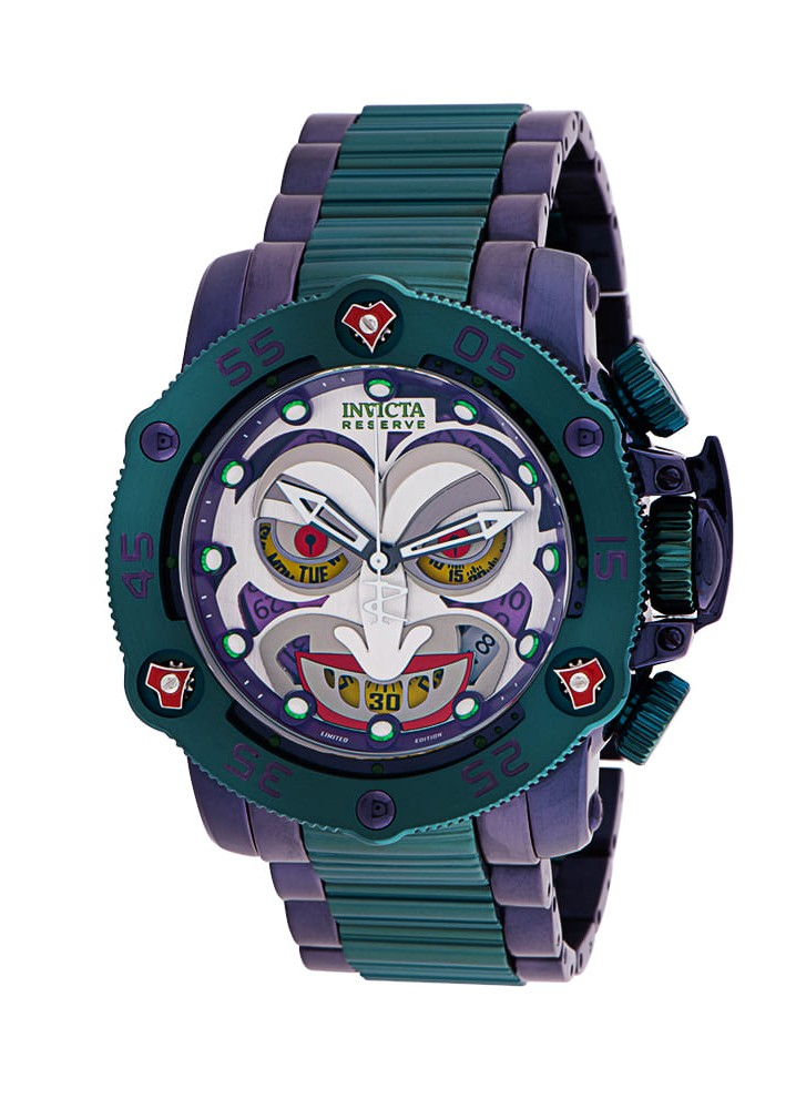 Invicta DC Comics Joker Quartz Men's Watch - 52.5mm Stainless Steel Case, Stainless Steel Band, Purple, Green (34936)
