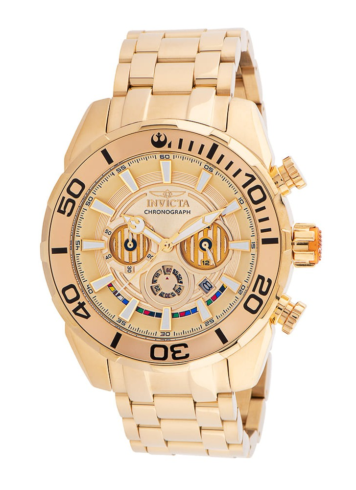 Invicta Star Wars C-3PO Quartz Men's Watch - 50mm Stainless Steel Case, Stainless Steel Band, Gold (35068)