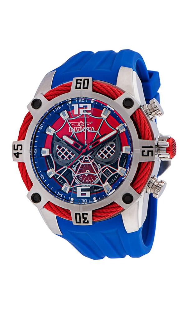 Invicta Marvel Spiderman Quartz Men's Watch - 51mm Stainless Steel Case, Silicone Band, Blue (35095)