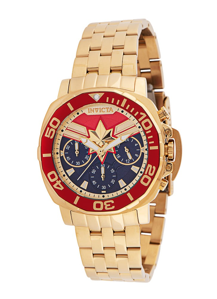 Invicta Marvel Captain Marvel Quartz Women's Watch - 38mm Stainless Steel Case, Stainless Steel Band, Gold (35099)