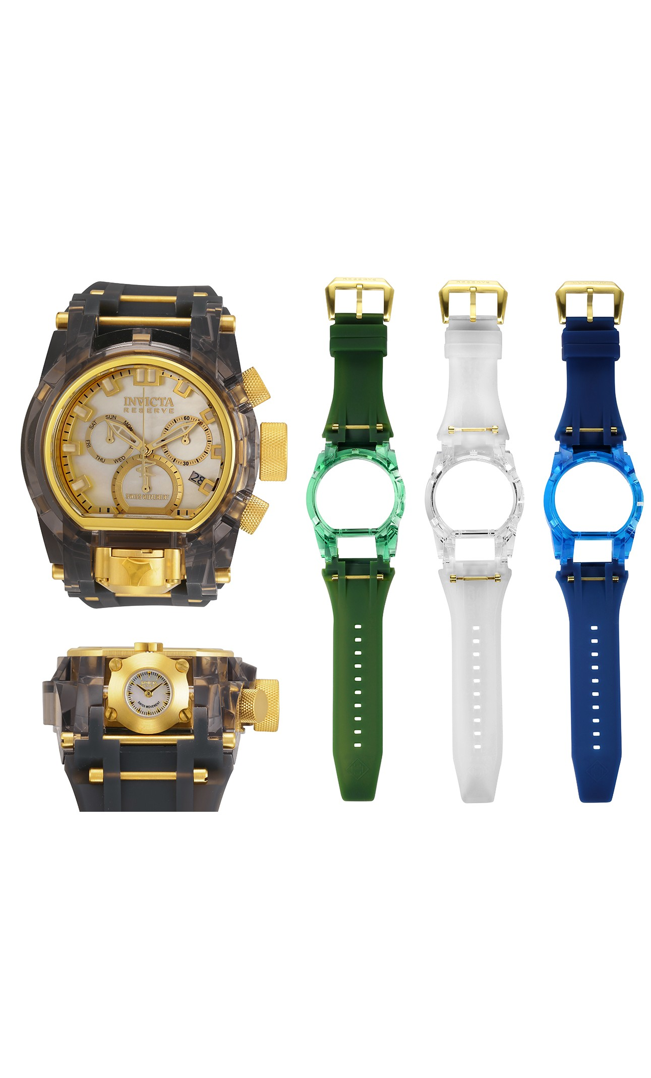Invicta Anatomic Bolt Zeus Magnum Quartz Mens Watch w/ Interchangeable Bands - 52mm Stainless Steel/Plastic Case, SS/Silicone Band (33186)